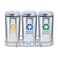Okinox Recycling Dustbin Stainless Steel 901655 With Rotating Lid