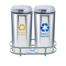 Okinox Recycling Dustbin Stainless Steel 901656 With Rotating Lid